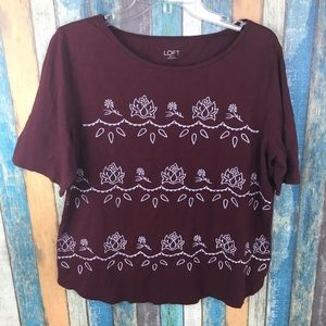 LOFT Maroon XL Maroon White Embroider Floral Tee